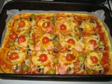 Пицца с шампиньонами, болгарским перцем и оливками на пряном тесте