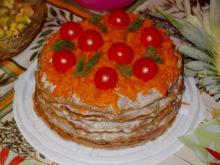 Печеночный торт с морковью и плавленным сырком