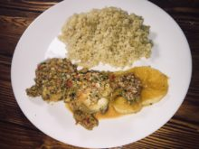 Курица с апельсинами и соусом из оливок и болгарского перца