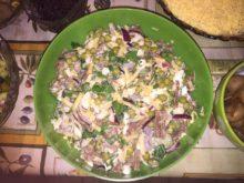 Салат с говядиной и сыром